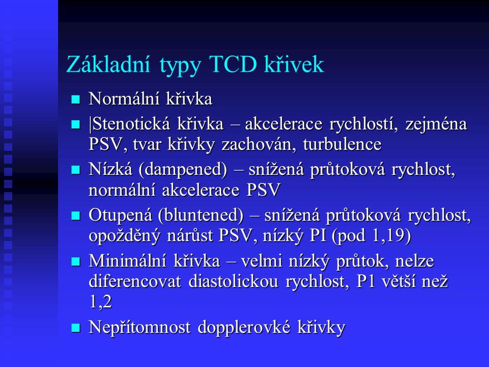 Základní typy TCD křivek  Normální křivka  |Stenotická křivka – akcelerace rychlostí, zejména PSV, tvar křivky zachován, turbulence  Nízká (dampened) – snížená průtoková rychlost, normální akcelerace PSV  Otupená (bluntened) – snížená průtoková rychlost, opožděný nárůst PSV, nízký PI (pod 1,19)  Minimální křivka – velmi nízký průtok, nelze diferencovat diastolickou rychlost, P1 větší než 1,2  Nepřítomnost dopplerovké křivky