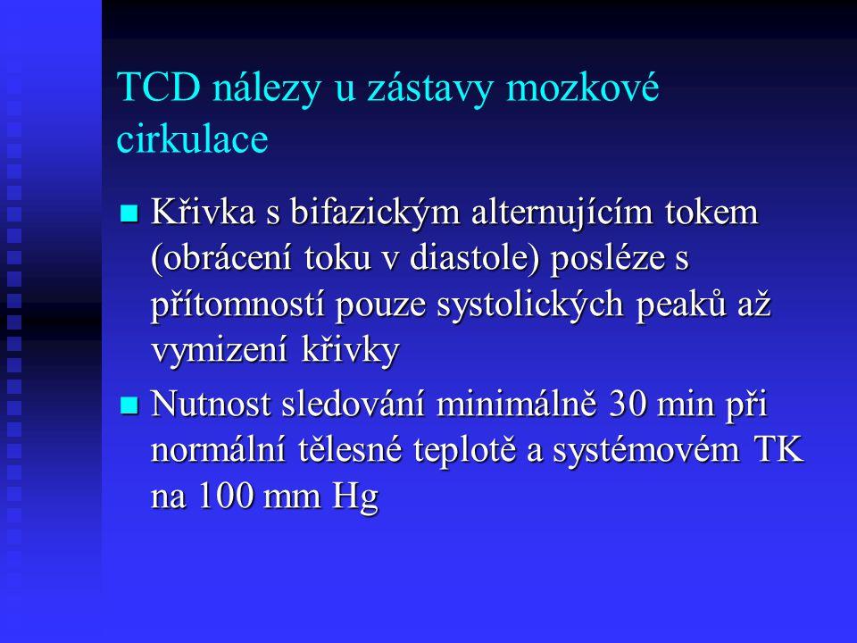 TCD nálezy u zástavy mozkové cirkulace  Křivka s bifazickým alternujícím tokem (obrácení toku v diastole) posléze s přítomností pouze systolických peaků až vymizení křivky  Nutnost sledování minimálně 30 min při normální tělesné teplotě a systémovém TK na 100 mm Hg