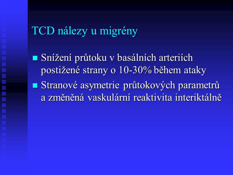 TCD nálezy u migrény  Snížení průtoku v basálních arteriích postižené strany o 10-30% během ataky  Stranové asymetrie průtokových parametrů a změněná vaskulární reaktivita interiktálně