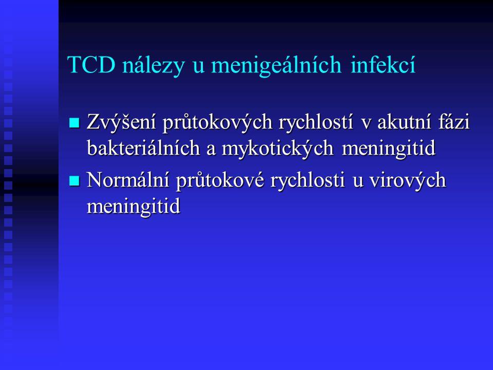 TCD nálezy u menigeálních infekcí  Zvýšení průtokových rychlostí v akutní fázi bakteriálních a mykotických meningitid  Normální průtokové rychlosti u virových meningitid