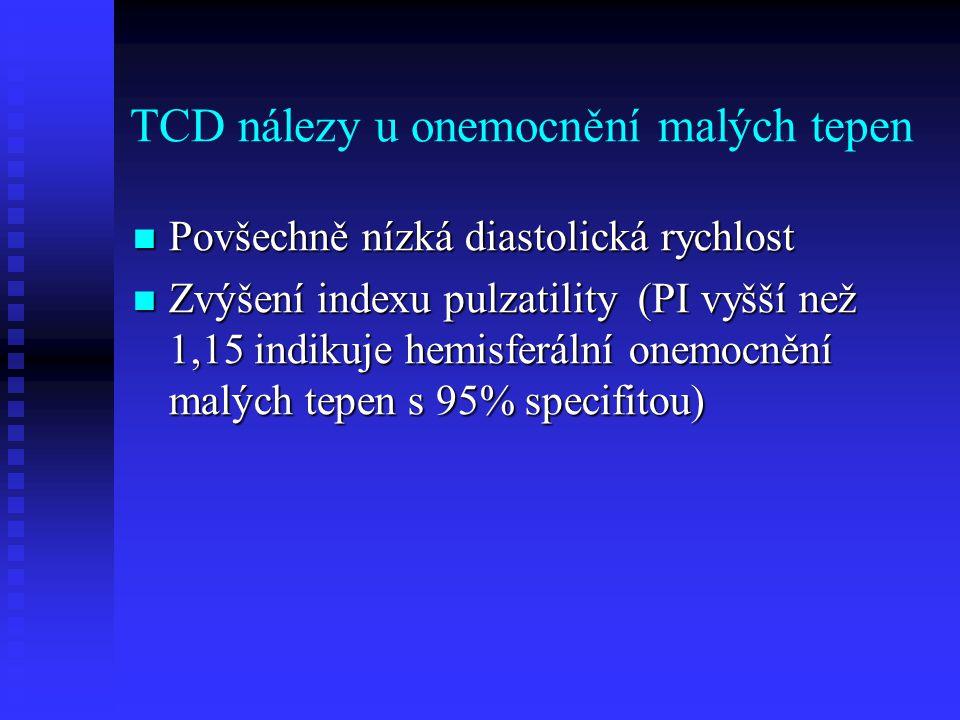 TCD nálezy u onemocnění malých tepen  Povšechně nízká diastolická rychlost  Zvýšení indexu pulzatility (PI vyšší než 1,15 indikuje hemisferální onemocnění malých tepen s 95% specifitou)