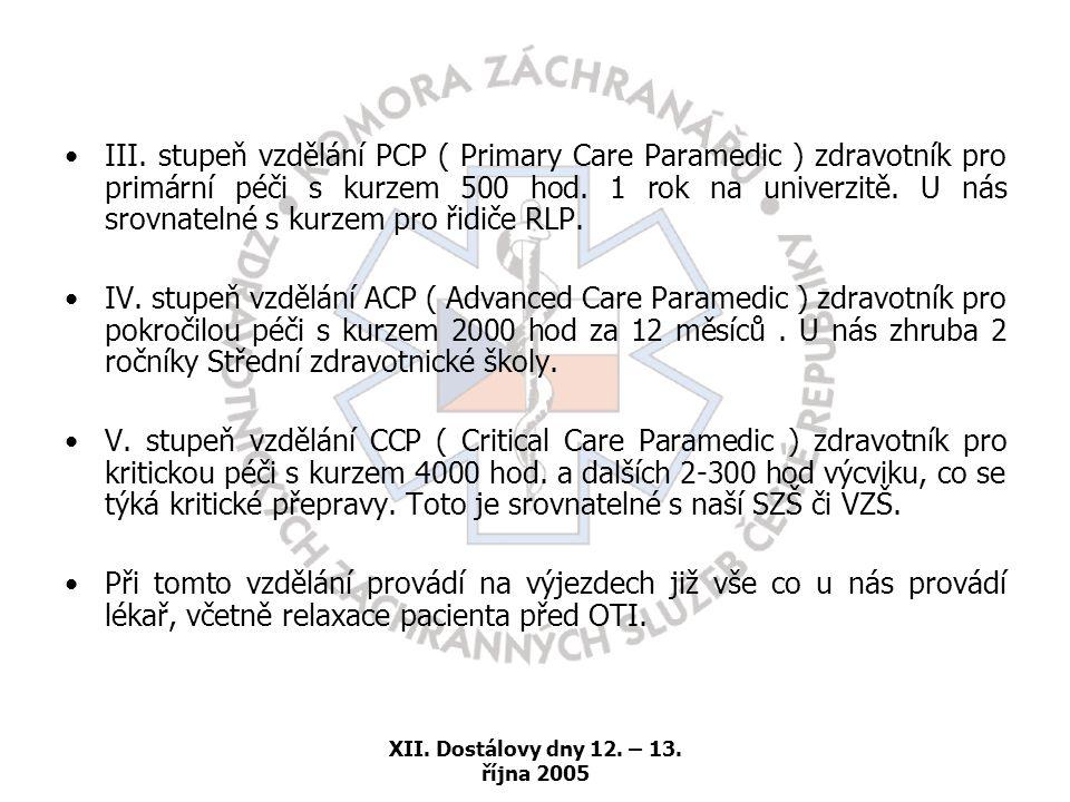 XII. Dostálovy dny 12. – 13. října 2005 •III. stupeň vzdělání PCP ( Primary Care Paramedic ) zdravotník pro primární péči s kurzem 500 hod. 1 rok na u
