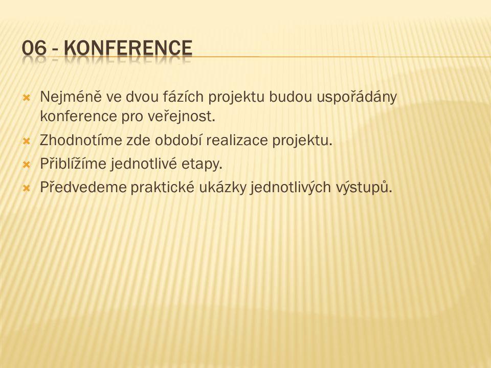  Nejméně ve dvou fázích projektu budou uspořádány konference pro veřejnost.