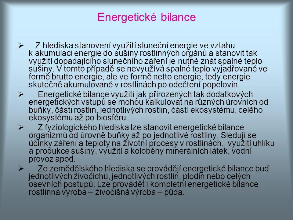 Energetické bilance  Z hlediska stanovení využití sluneční energie ve vztahu k akumulaci energie do sušiny rostlinných orgánů a stanovit tak využití