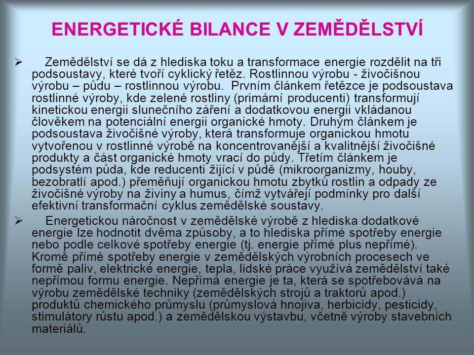 ENERGETICKÉ BILANCE V ZEMĚDĚLSTVÍ  Zemědělství se dá z hlediska toku a transformace energie rozdělit na tři podsoustavy, které tvoří cyklický řetěz.