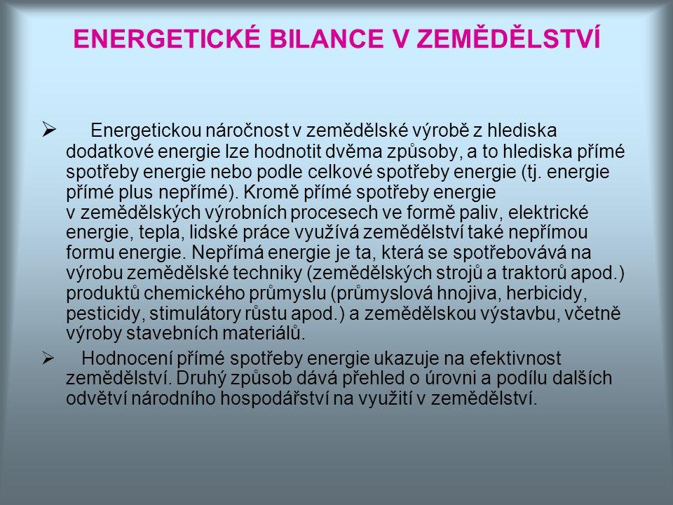 ENERGETICKÉ BILANCE V ZEMĚDĚLSTVÍ  Energetickou náročnost v zemědělské výrobě z hlediska dodatkové energie lze hodnotit dvěma způsoby, a to hlediska