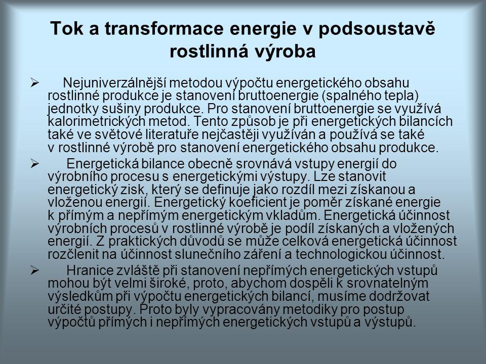 Tok a transformace energie v podsoustavě rostlinná výroba  Nejuniverzálnější metodou výpočtu energetického obsahu rostlinné produkce je stanovení bru