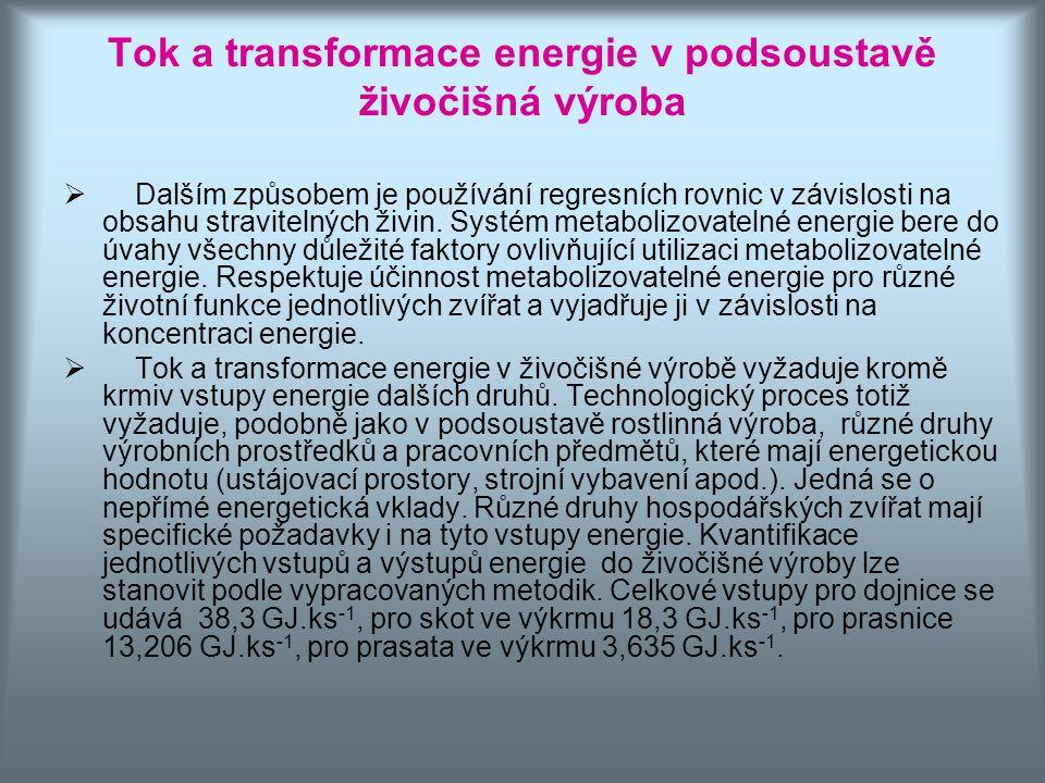Tok a transformace energie v podsoustavě živočišná výroba  Dalším způsobem je používání regresních rovnic v závislosti na obsahu stravitelných živin.