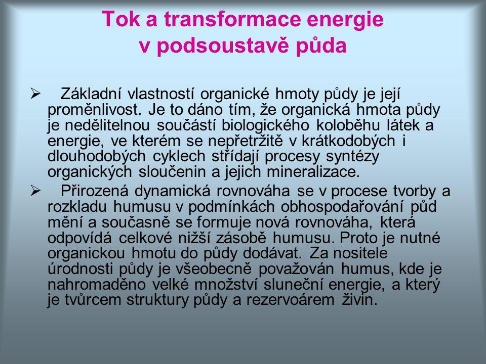 Tok a transformace energie v podsoustavě půda  Základní vlastností organické hmoty půdy je její proměnlivost. Je to dáno tím, že organická hmota půdy