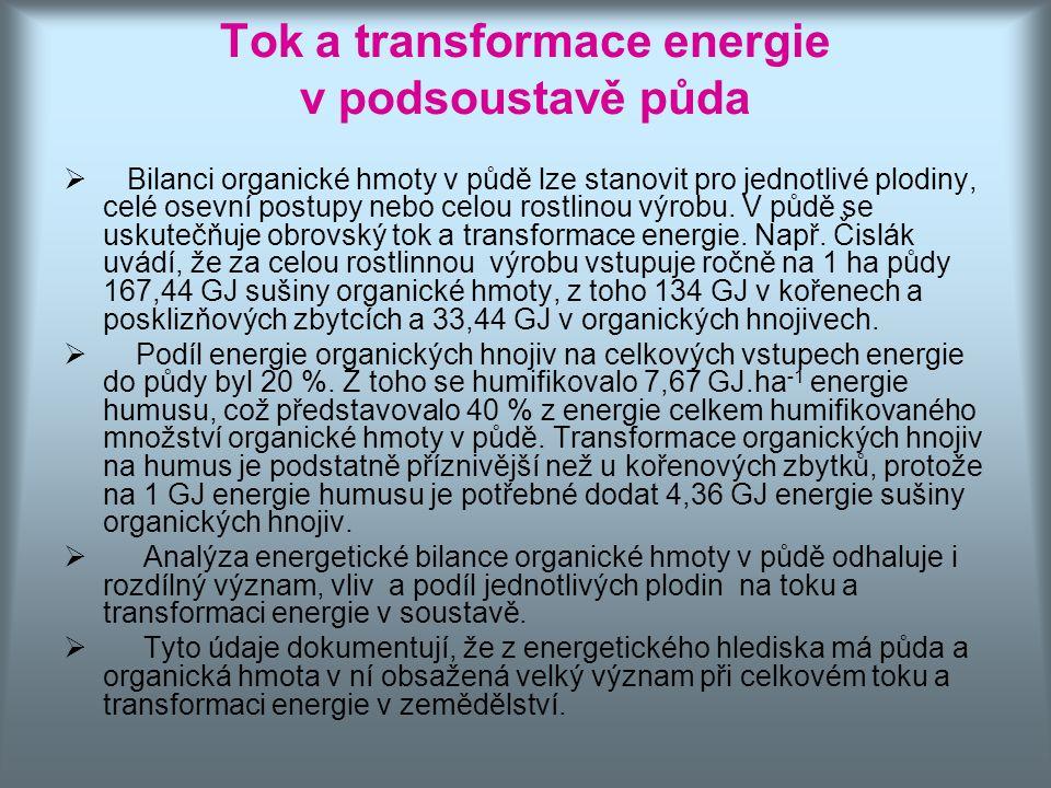 Tok a transformace energie v podsoustavě půda  Bilanci organické hmoty v půdě lze stanovit pro jednotlivé plodiny, celé osevní postupy nebo celou ros