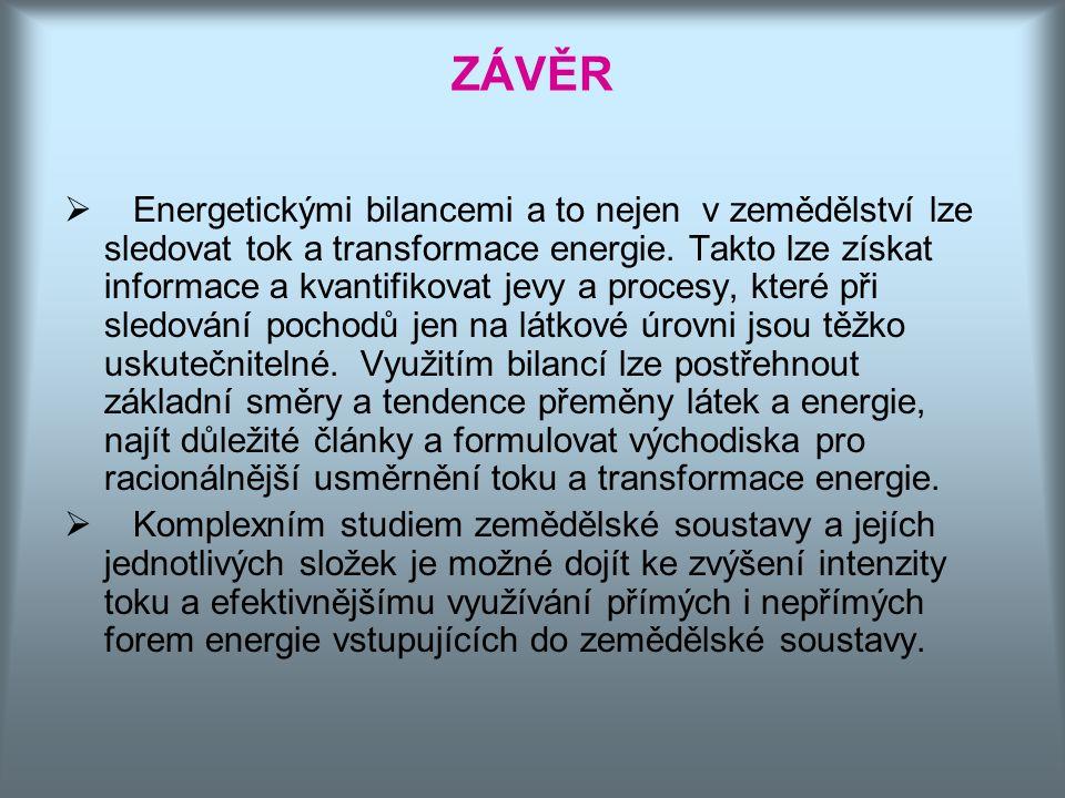 ZÁVĚR  Energetickými bilancemi a to nejen v zemědělství lze sledovat tok a transformace energie. Takto lze získat informace a kvantifikovat jevy a pr