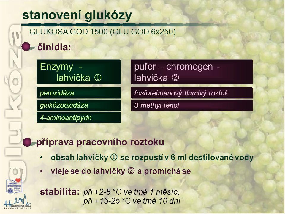 stanovení glukózy GLUKOSA GOD 1500 (GLU GOD 6x250) činidla: 4-aminoantipyrin 3-methyl-fenolglukózooxidáza fosforečnanový tlumivý roztokperoxidáza pufe