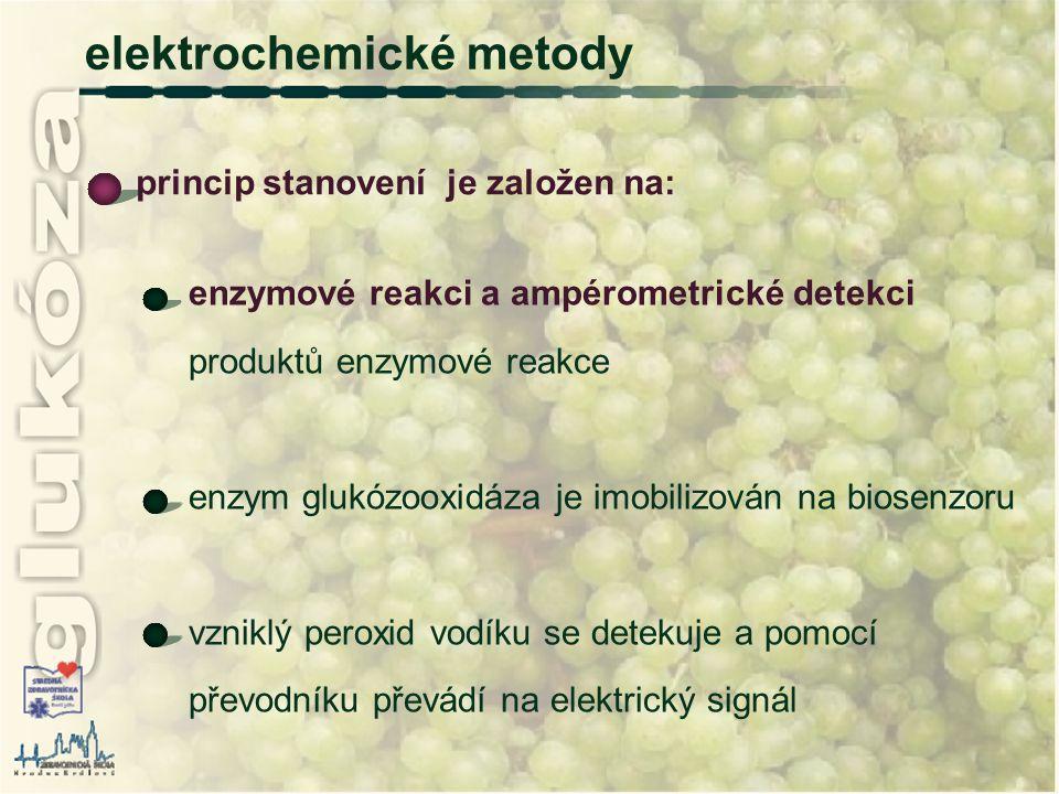 elektrochemické metody enzymové reakci a ampérometrické detekci produktů enzymové reakce enzym glukózooxidáza je imobilizován na biosenzoru vzniklý pe