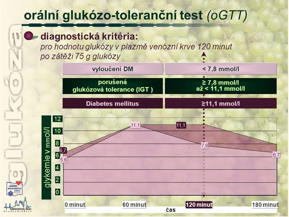 čas ≥11,1 mmol/lDiabetes mellitus ≥ 7,8 mmol/l až < 11,1 mmol/l porušená glukózová tolerance (IGT ) < 7,8 mmol/lvyloučení DM diagnostická kritéria: pr