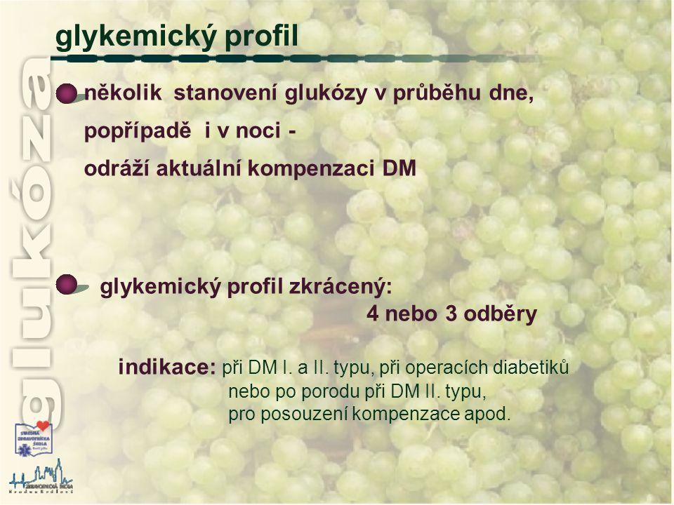 glykemický profil glykemický profil zkrácený: 4 nebo 3 odběry indikace: při DM I. a II. typu, při operacích diabetiků nebo po porodu při DM II. typu,