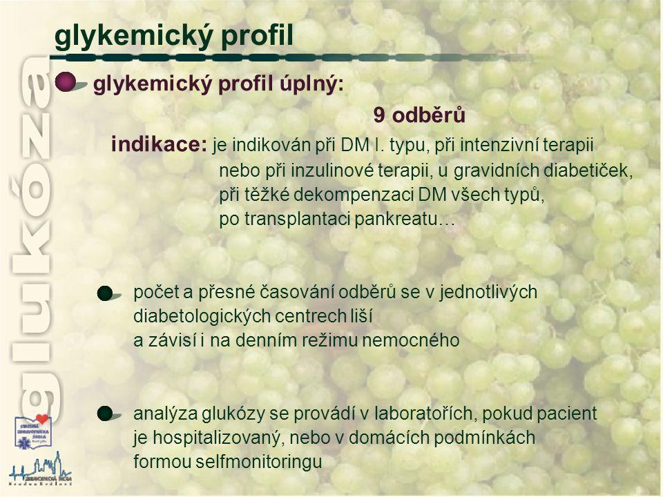 glykemický profil glykemický profil úplný: 9 odběrů indikace: je indikován při DM I. typu, při intenzivní terapii nebo při inzulinové terapii, u gravi