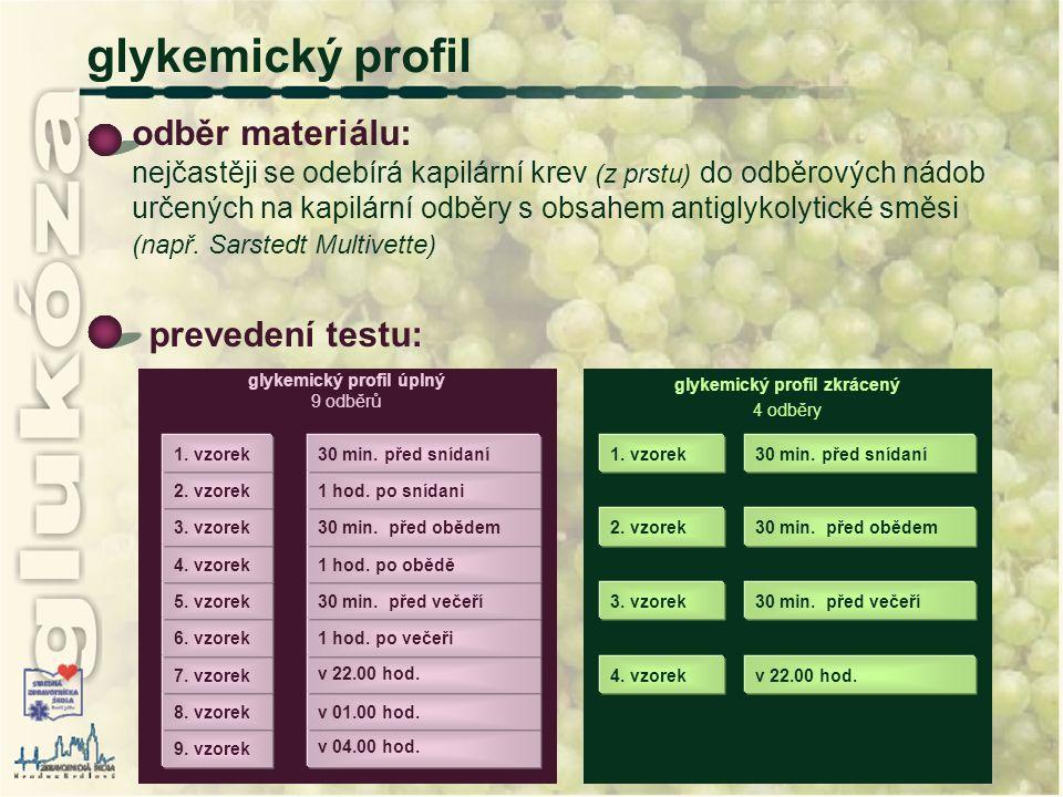 glykemický profil zkrácený 4 odběry glykemický profil úplný 9 odběrů odběr materiálu: nejčastěji se odebírá kapilární krev (z prstu) do odběrových nád