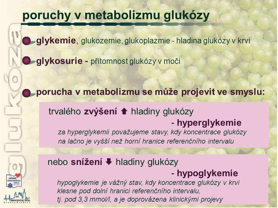 poruchy v metabolizmu glukózy glykemie, glukozemie, glukoplazmie - hladina glukózy v krvi glykosurie - přítomnost glukózy v moči porucha v metabolizmu