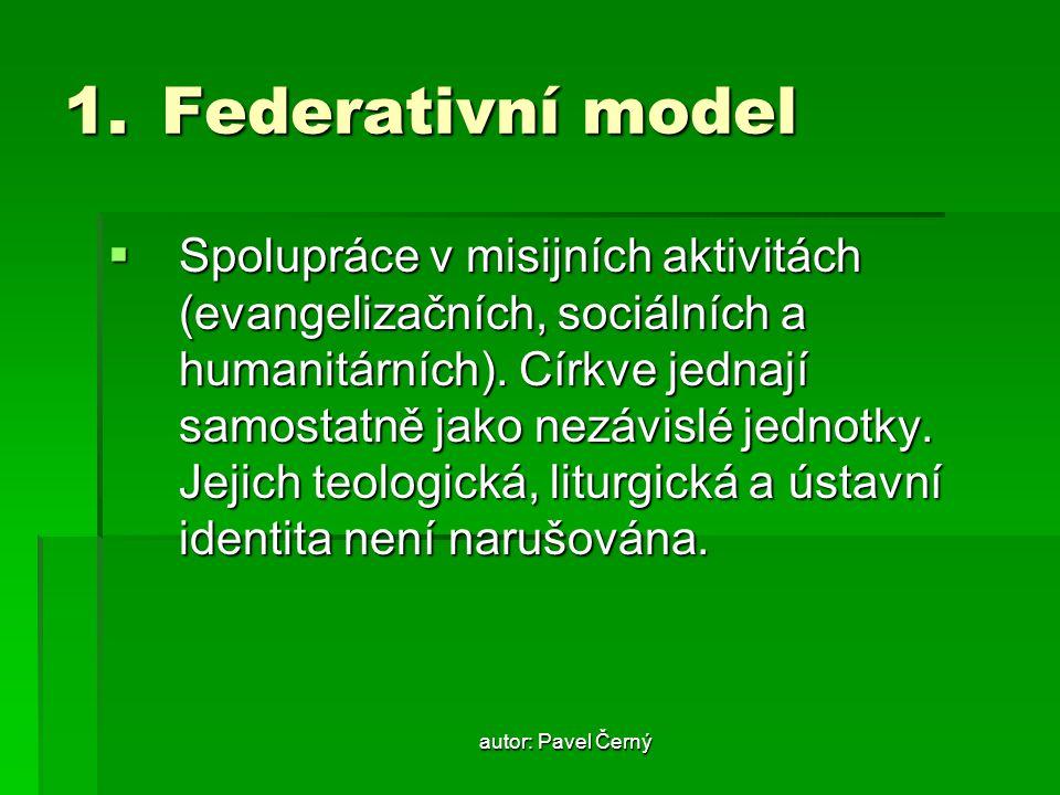 autor: Pavel Černý 1.Federativní model  Spolupráce v misijních aktivitách (evangelizačních, sociálních a humanitárních). Církve jednají samostatně ja