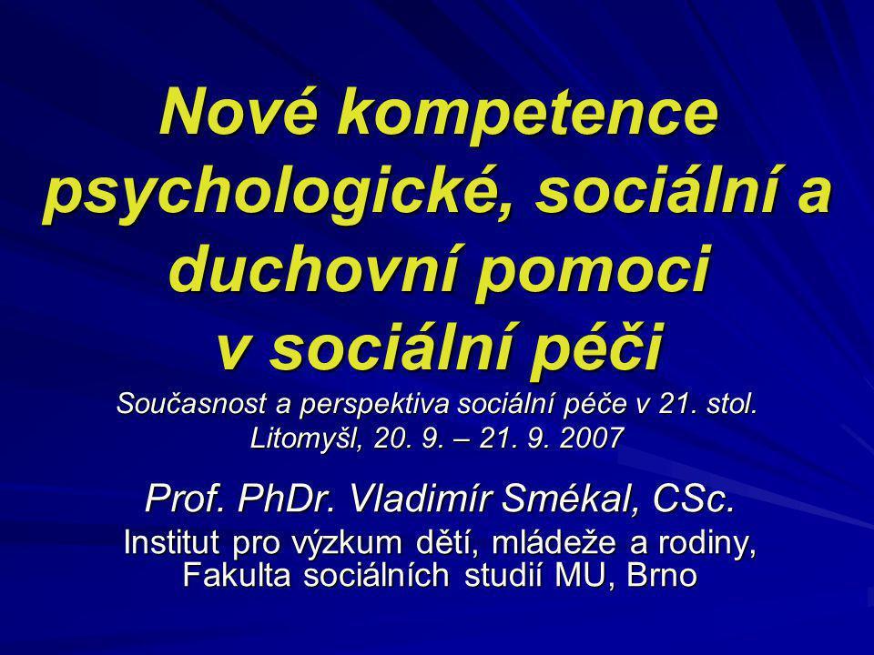 Nové kompetence psychologické, sociální a duchovní pomoci v sociální péči Současnost a perspektiva sociální péče v 21. stol. Litomyšl, 20. 9. – 21. 9.