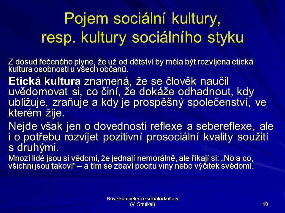 Nové kompetence sociální kultury (V. Smékal) 10 Pojem sociální kultury, resp. kultury sociálního styku Z dosud řečeného plyne, že už od dětství by měl