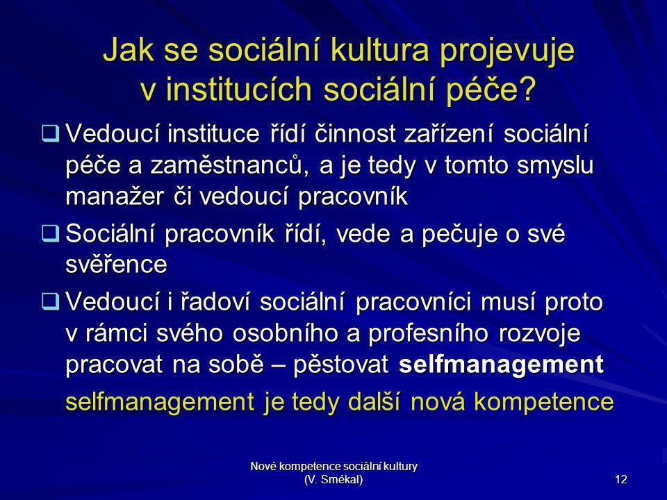 Nové kompetence sociální kultury (V. Smékal) 12 Jak se sociální kultura projevuje v institucích sociální péče?  Vedoucí instituce řídí činnost zaříze