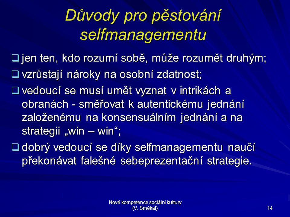 Nové kompetence sociální kultury (V. Smékal) 14 Důvody pro pěstování selfmanagementu  jen ten, kdo rozumí sobě, může rozumět druhým;  vzrůstají náro