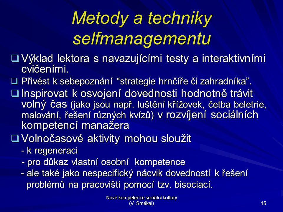 Nové kompetence sociální kultury (V. Smékal) 15 Metody a techniky selfmanagementu  Výklad lektora s navazujícími testy a interaktivními cvičeními. 