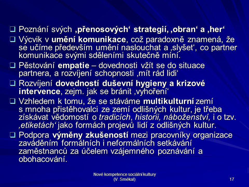 Nové kompetence sociální kultury (V. Smékal) 17  Poznání svých 'přenosových' strategií, 'obran' a 'her'  Výcvik v umění komunikace, což paradoxně zn