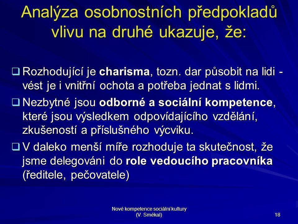 Nové kompetence sociální kultury (V. Smékal) 18 Analýza osobnostních předpokladů vlivu na druhé ukazuje, že:  Rozhodující je charisma, tozn. dar půso