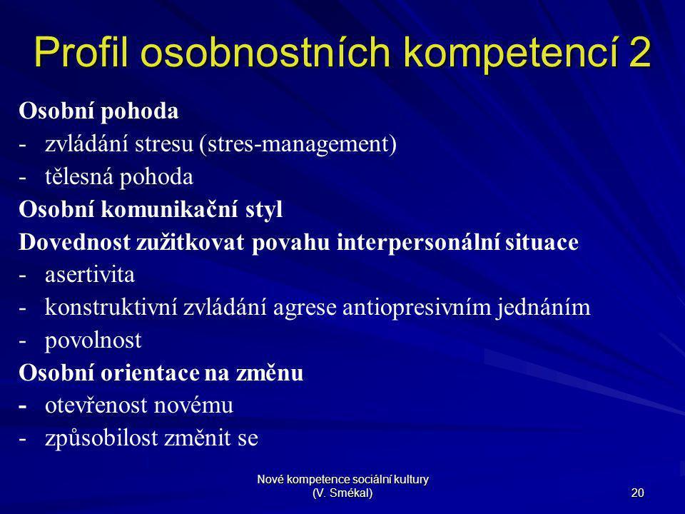 Nové kompetence sociální kultury (V. Smékal) 20 Profil osobnostních kompetencí 2 Osobní pohoda - zvládání stresu (stres-management) - tělesná pohoda O