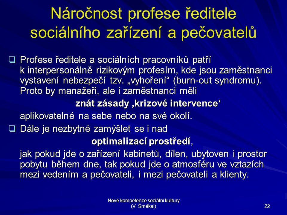 Nové kompetence sociální kultury (V. Smékal) 22 Náročnost profese ředitele sociálního zařízení a pečovatelů  Profese ředitele a sociálních pracovníků