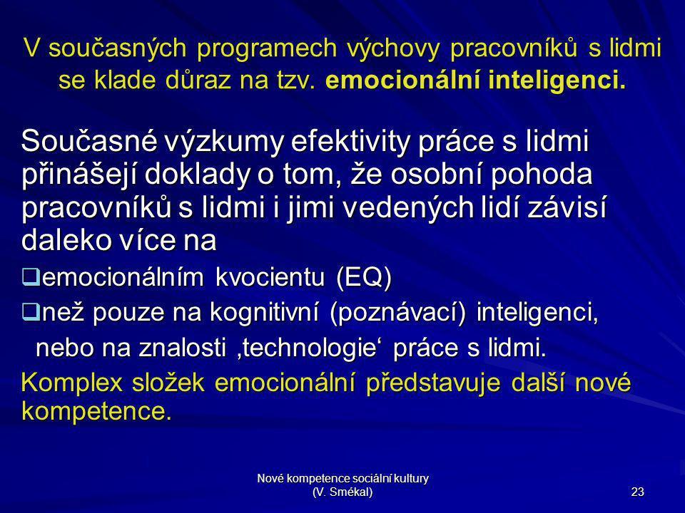 Nové kompetence sociální kultury (V. Smékal) 23 V současných programech výchovy pracovníků s lidmi se klade důraz na tzv. emocionální inteligenci. Sou