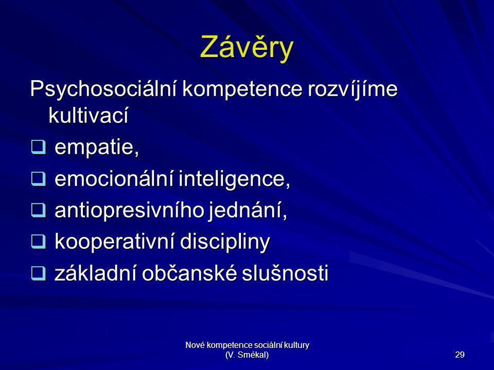 Nové kompetence sociální kultury (V. Smékal) 29 Závěry Psychosociální kompetence rozvíjíme kultivací  empatie,  emocionální inteligence,  antiopres