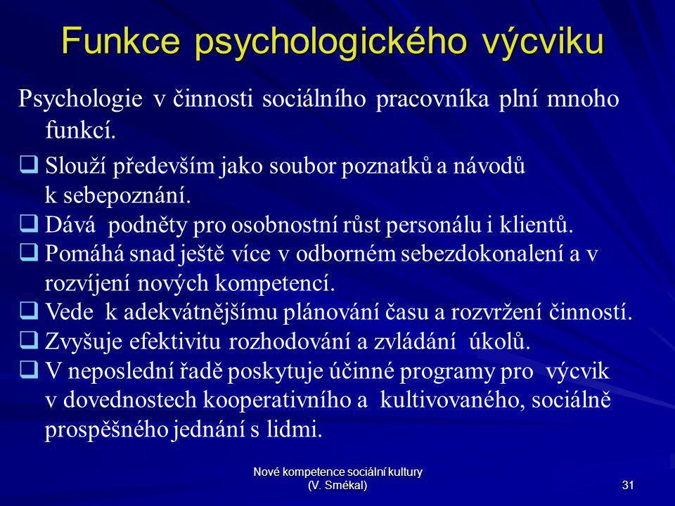 Nové kompetence sociální kultury (V. Smékal) 31 Funkce psychologického výcviku Psychologie v činnosti sociálního pracovníka plní mnoho funkcí.  Slouž