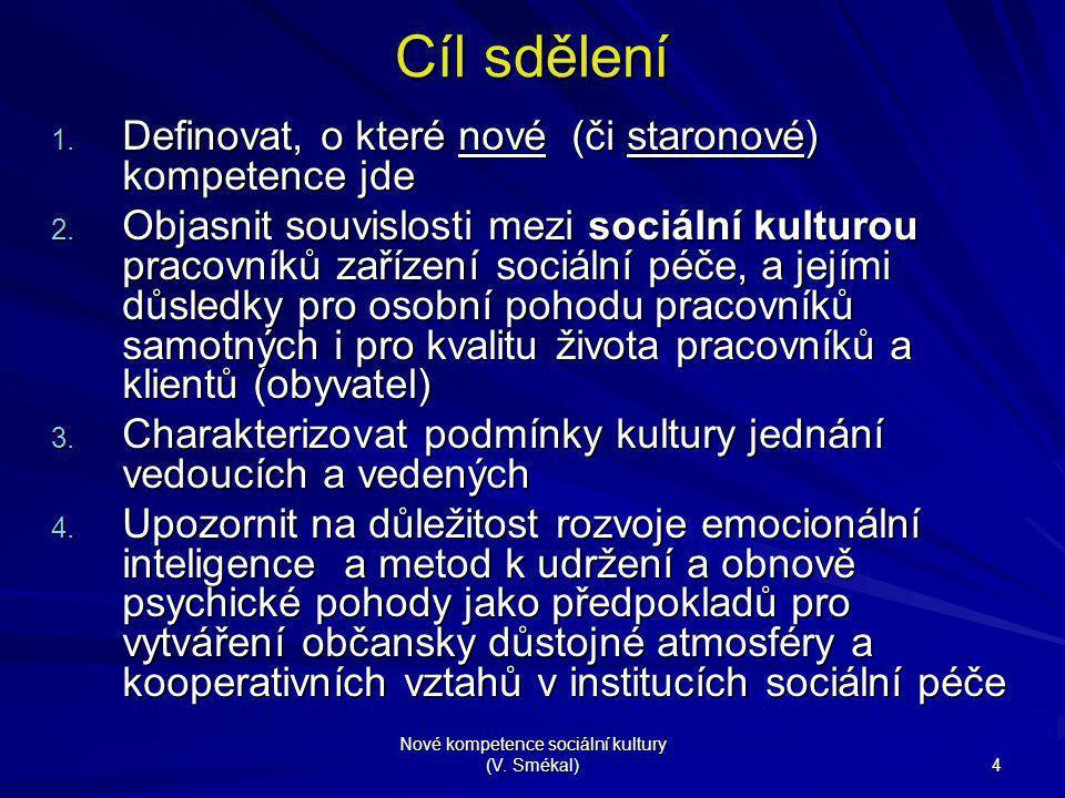 Nové kompetence sociální kultury (V. Smékal) 4 Cíl sdělení 1. Definovat, o které nové (či staronové) kompetence jde 2. Objasnit souvislosti mezi sociá