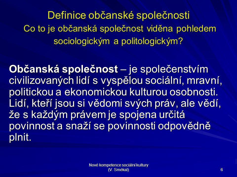 Nové kompetence sociální kultury (V. Smékal) 6 Definice občanské společnosti Co to je občanská společnost viděna pohledem sociologickým a politologick
