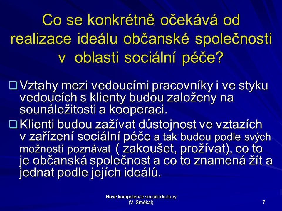 Nové kompetence sociální kultury (V. Smékal) 7 Co se konkrétně očekává od realizace ideálu občanské společnosti v oblasti sociální péče?  Vztahy mezi