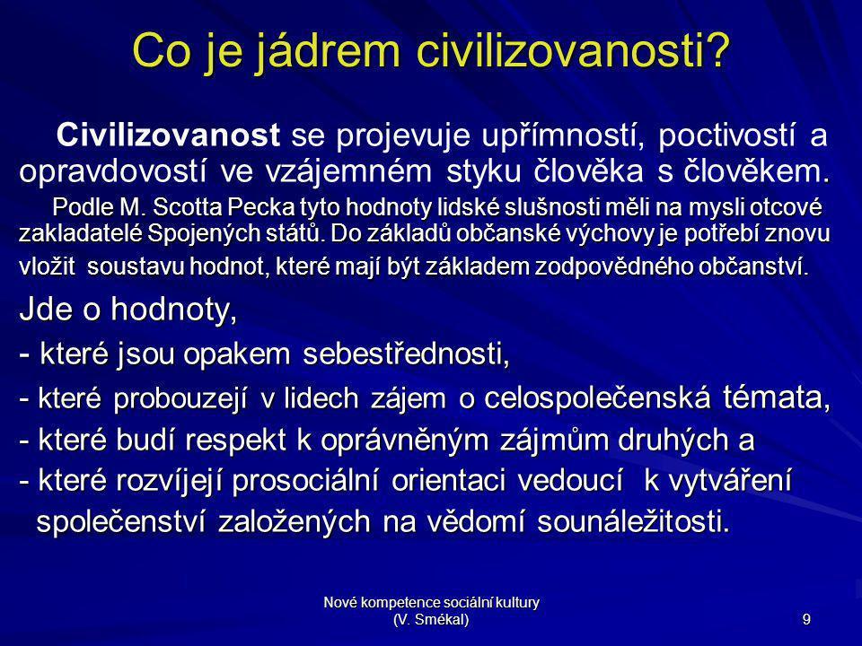 Nové kompetence sociální kultury (V. Smékal) 9 Co je jádrem civilizovanosti?. Civilizovanost se projevuje upřímností, poctivostí a opravdovostí ve vzá