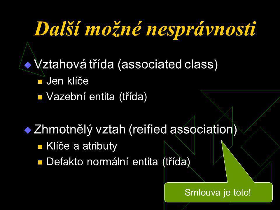 Další možné nesprávnosti  Vztahová třída (associated class)  Jen klíče  Vazební entita (třída)  Zhmotnělý vztah (reified association)  Klíče a atributy  Defakto normální entita (třída) Smlouva je toto!