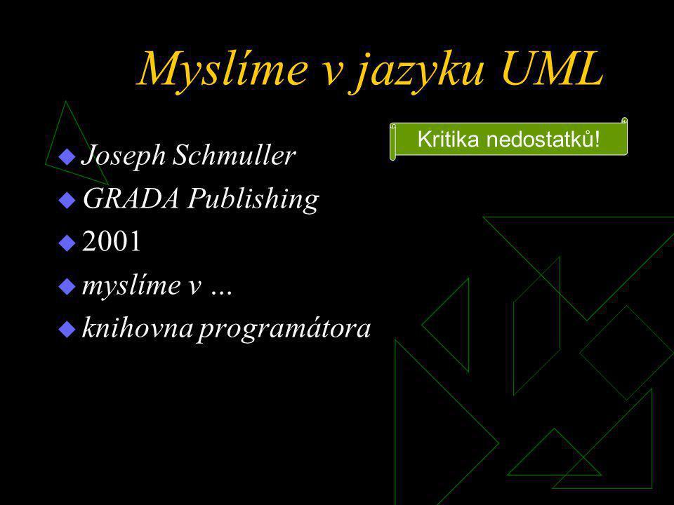 Myslíme v jazyku UML  Joseph Schmuller  GRADA Publishing  2001  myslíme v …  knihovna programátora Kritika nedostatků!