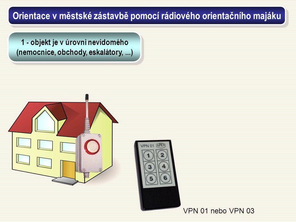 VPN 01 nebo VPN 03 Orientace v městské zástavbě pomocí rádiového orientačního majáku 1 - objekt je v úrovni nevidomého (nemocnice, obchody, eskalátory
