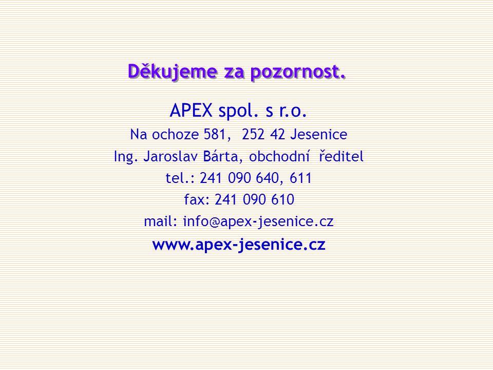 APEX spol. s r.o. Na ochoze 581, 252 42 Jesenice Ing. Jaroslav Bárta, obchodní ředitel tel.: 241 090 640, 611 fax: 241 090 610 mail: info@apex-jesenic