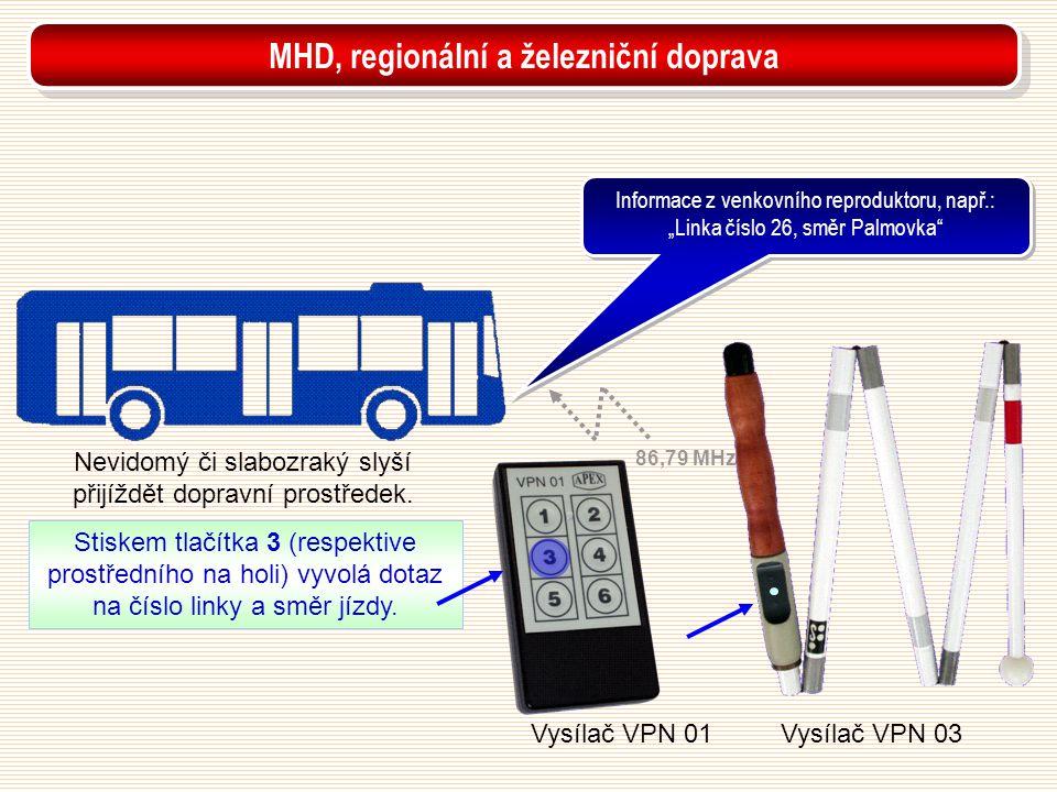 """Vysílač VPN 01Vysílač VPN 03 Nevidomý či slabozraký slyší přijíždět dopravní prostředek. Informace z venkovního reproduktoru, např.: """"Linka číslo 26,"""