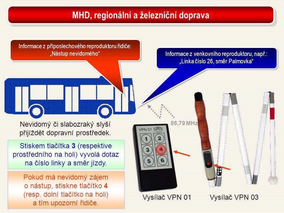 Vysílač VPN 01Vysílač VPN 03 Nevidomý či slabozraký slyší přijíždět dopravní prostředek. Pokud má nevidomý zájem o nástup, stiskne tlačítko 4 (resp. d