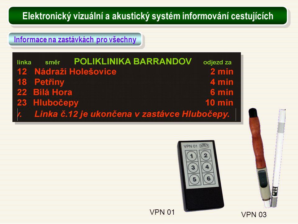 VPN 01 VPN 03 Elektronický vizuální a akustický systém informování cestujících Informace na zastávkách pro všechny