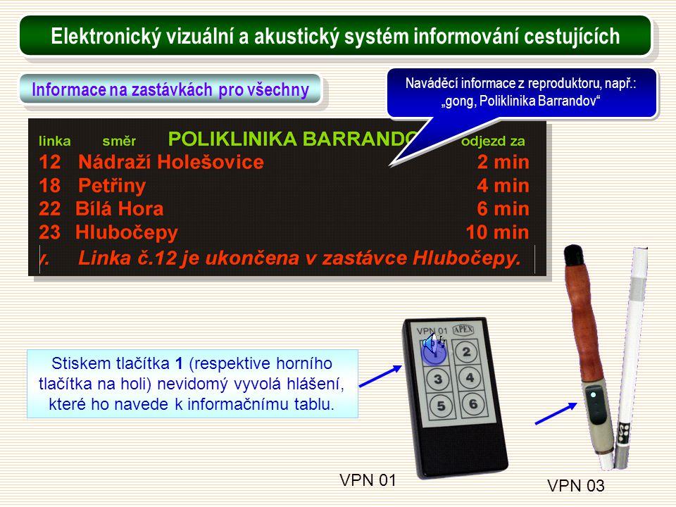 VPN 01 VPN 03 Stiskem tlačítka 1 (respektive horního tlačítka na holi) nevidomý vyvolá hlášení, které ho navede k informačnímu tablu. Elektronický viz