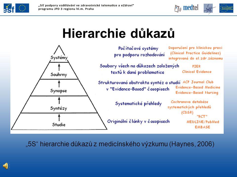 """Hierarchie důkazů """"5S"""" hierarchie důkazů z medicínského výzkumu (Haynes, 2006)"""
