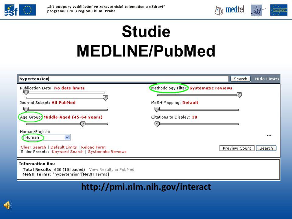 http://pmi.nlm.nih.gov/interact Studie MEDLINE/PubMed