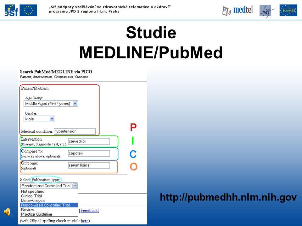 http://pubmedhh.nlm.nih.gov Studie MEDLINE/PubMed